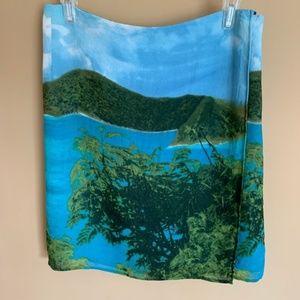 Express Island Paradise Photograph Wrap Skirt 1/2